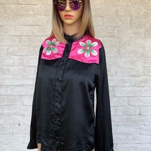 "CYNTHIA ROWLEY Silk ""Flower Power"" Blouse🌸"